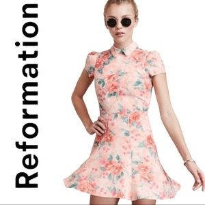 REFORMATION Wednesday Floral Peter Pan Mini Dress